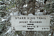 Starr King Trail Sign  located in the White Mountain National Forest of New Hampshire USA