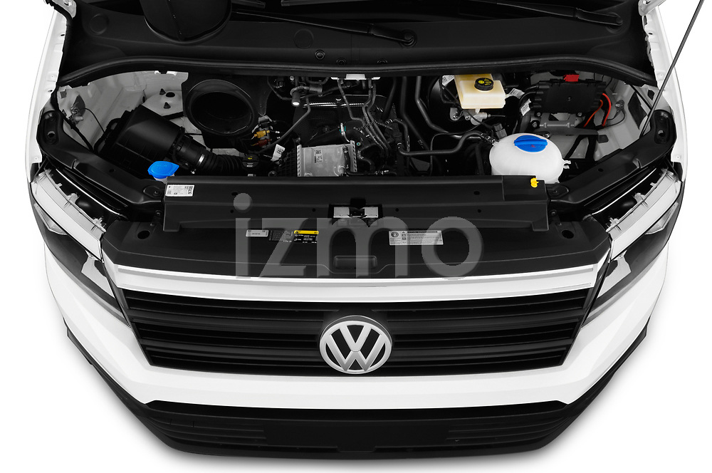 Car stock 2019 Volkswagen Crafter Base 4 Door Cargo Van engine high angle detail view