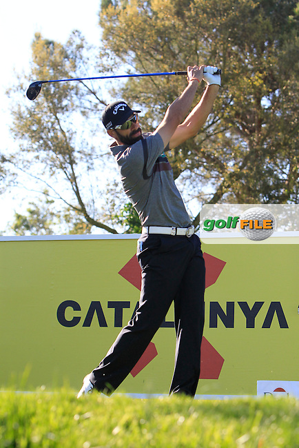Alvero Quiros (ESP) on the 13th tee during Thursday's Round 1 of The Open De Espana at The PGA Catalunya Resort. 15th May 2014.<br /> Picture:  Thos Caffrey / www.golffile.ie