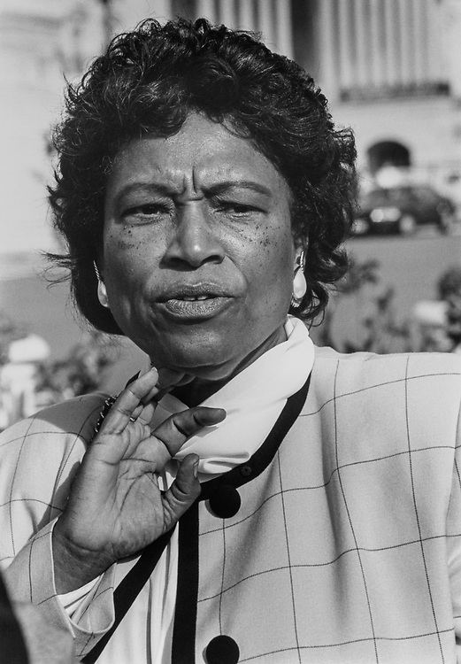 Close-up of Rep. Eva M. Clayton, D-N.C., in October 1993. (Photo by Laura Patterson/CQ Roll Call via Getty Images)