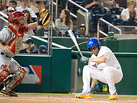United States Representative Hakeem Jeffries (Democrat of New York) ducks under a high, inside pitch as he bats in the sixth inning of the 56th Annual Congressional Baseball Game for Charity where the Democrats play the Republicans in a friendly game of baseball at Nationals Park in Washington, DC on Thursday, June 15, 2017.  Rep. Jeffries will play in the infield.<br /> Credit: Ron Sachs / CNP/MediaPunch (RESTRICTION: NO New York or New Jersey Newspapers or newspapers within a 75 mile radius of New York City)