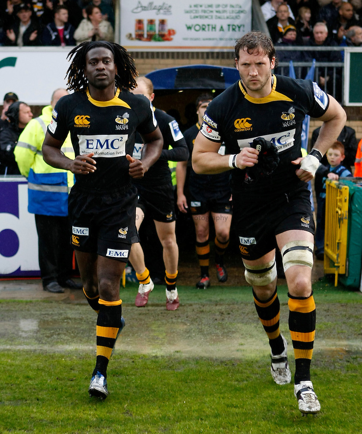 Photo: Richard Lane/Richard Lane Photography. London Wasps v Cardiff Blues. Amlin Challenge Cup Semi Final. 01/05/2010. Wasps' Paul Sackey and George Skivington run out for the last time at Adams Park for Wasps.