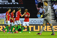 Tuesday, 7 May 2013<br /><br />Pictured: Swansea City players Celebrate after Scoring a goal<br /><br />Re: Barclays Premier League Wigan Athletic v Swansea City FC  at the DW Stadium, Wigan