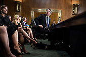 UNITED STATES - SEPTEMBER 27: Judge Brett Kavanaugh testifies during the Senate Judiciary Committee hearing on his nomination be an associate justice of the Supreme Court of the United States, focusing on allegations of sexual assault by Kavanaugh against Christine Blasey Ford in the early 1980s. (Photo By Tom Williams/CQ Roll Call)