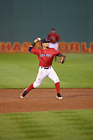 Salem Red Sox shortstop Santiago Espinal (5) throws to first base during the second game of a doubleheader against the Potomac Nationals on June 11, 2018 at Haley Toyota Field in Salem, Virginia.  Potomac defeated Salem 4-0.  (Mike Janes/Four Seam Images)