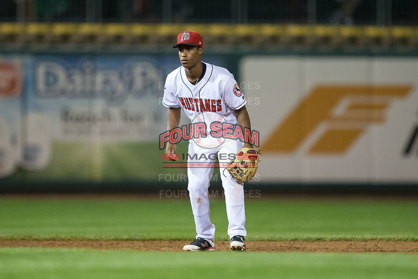 Billings Mustangs shortstop Jeter Downs (17) on defense against the Missoula Osprey at Dehler Park on August 21, 2017 in Billings, Montana.  The Osprey defeated the Mustangs 10-4.  (Brian Westerholt/Four Seam Images)