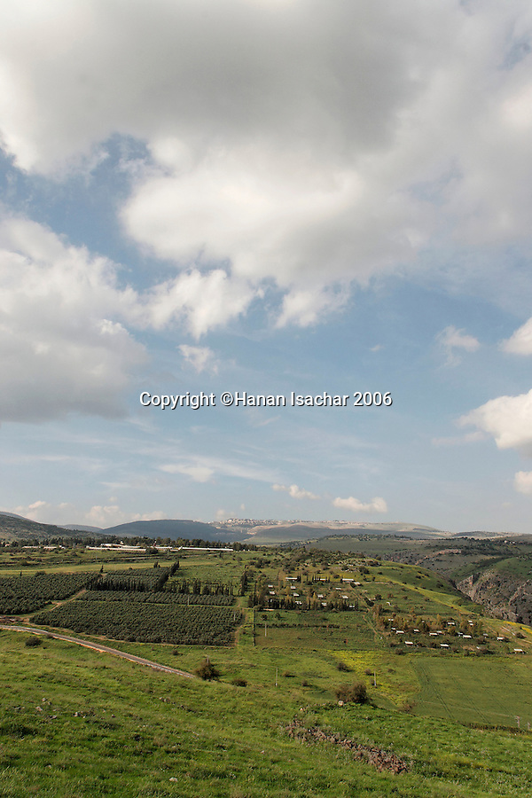Israel, the Lower Galilee. A view north from Livnim towards kibbutz Hokuk