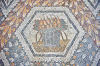3rd century AD Roman mosaic panel of pears in a basket from Thugga, Tunisia.  The Bardo Museum, Tunis, Tunisia.