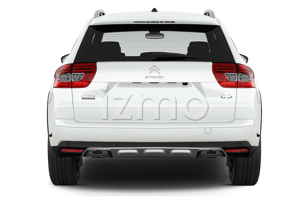 Straight rear view of 2016 Citroen C5-Tourer Hydractive-Exclusive 5 Door wagon Rear View  stock images