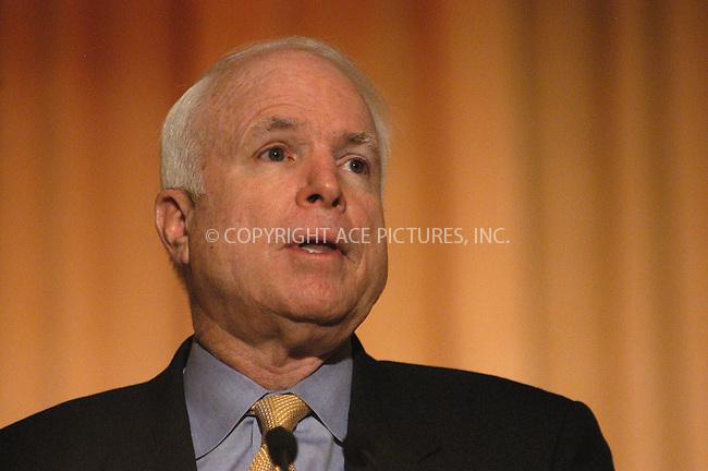 WWW.ACEPIXS.COM . . . . . ....June 12, 2006, New York City. ....US Senator John McCain speaks during a press conference.....Please byline: KRISTIN CALLAHAN - ACEPIXS.COM.. . . . . . ..Ace Pictures, Inc:  ..(212) 243-8787 or (646) 679 0430..e-mail: picturedesk@acepixs.com..web: http://www.acepixs.com
