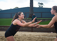 STANFORD, CA - March 10, 2019: Amelia Smith, Morgan Hentz at Stanford Beach Volleyball Stadium. The Stanford Cardinal fell to the Saint Mary's Gaels 3-2.