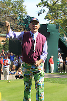 Actor Bill Murray gets the crowd going on the 1st tee for the Captains/Celebrity scramble exhibition during Monday's Practice Day of the 39th Ryder Cup at Medinah Country Club, Chicago, Illinois 25th September 2012 (Photo Eoin Clarke/www.golffile.ie)