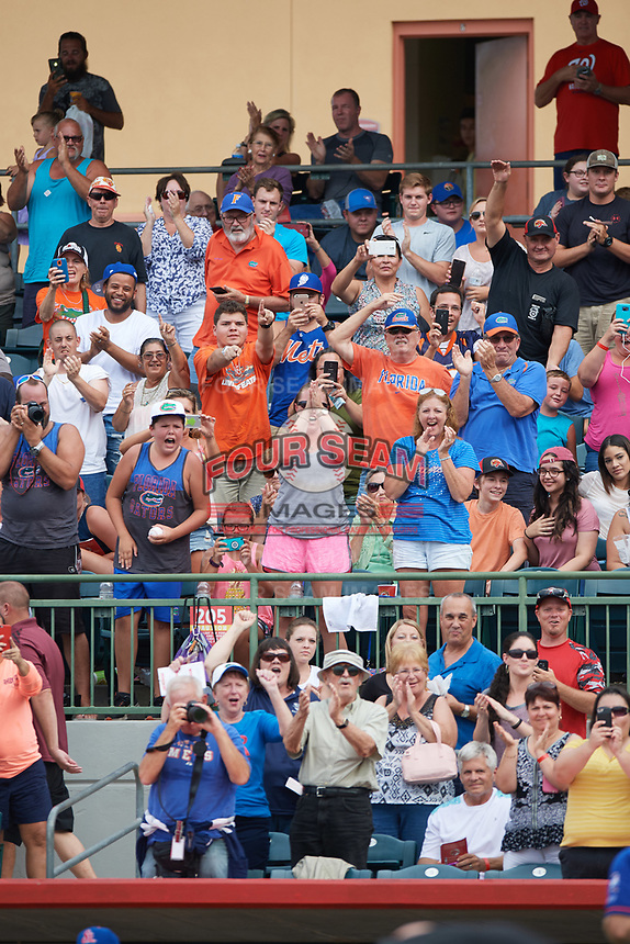 Fans cheer for St. Lucie Mets left fielder Tim Tebow (not shown) after hitting a home run in the top of the fourth inning during a game against the Florida Fire Frogs on July 23, 2017 at Osceola County Stadium in Kissimmee, Florida.  St. Lucie defeated Florida 3-2.  (Mike Janes/Four Seam Images)