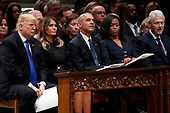 From left, President Donald Trump, first lady Melania Trump, former President Barack Obama, Michelle Obama and former President Bill Clinton listen as former Canadian Prime Minister Brian Mulroney speaks during a State Funeral at the National Cathedral, Wednesday, Dec. 5, 2018, in Washington, for former President George H.W. Bush.<br /> Credit: Alex Brandon / Pool via CNP