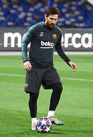 24th February 2020; Stadio San Paolo, Naples, Campania, Italy; UEFA Champions League Football, Napoli versus Barcelona, Barcelona training Lionel Messi of Barcelona