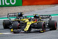 12th July 2020; Styria, Austria; FIA Formula One World Championship 2020, Grand Prix of Styria race day; FIA Formula One World Championship 2020, Grand Prix of Styria,  31 Esteban Ocon FRA, Renault DP World F1 Team, 3 Daniel Ricciardo AUS, Renault DP World F1 Team