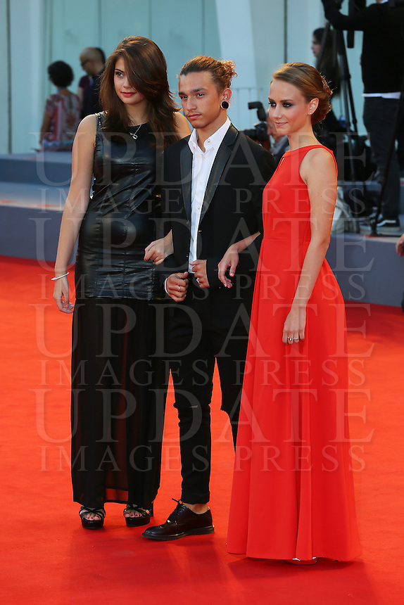 Daria D'Isanto, Edoardo Cro and Elisabetta Mirra attend the red carpet for the premiere of the movie 'Per Amor Vostro' during the 72nd Venice Film Festival at the Palazzo Del Cinema in Venice, Italy, September 11, 2015.<br /> UPDATE IMAGES PRESS/Stephen Richie