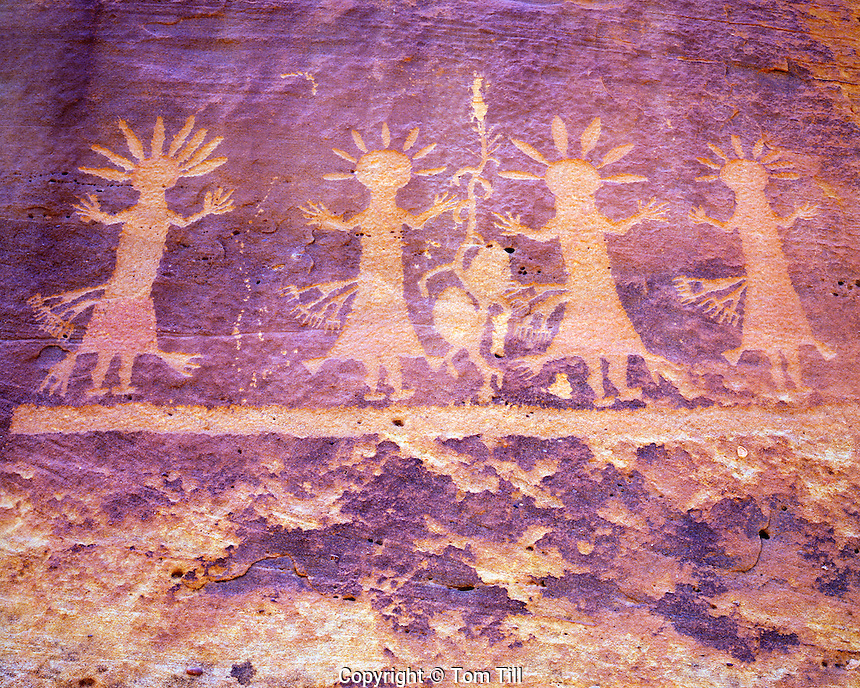 Yeibeichei petroglyphs, New Mexico, New Mexico, Unusual Navajo rock art, depicts mythical sacred spireit being
