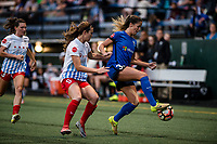 Seattle, WA - Wednesday, June 28, 2017: Katlyn Johnson and Kathleen Naughton during a regular season National Women's Soccer League (NWSL) match between the Seattle Reign FC and the Chicago Red Stars at Memorial Stadium.
