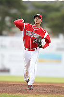 Batavia Muckdogs pitcher Jorgan Cavanerio (35) delivers a pitch during a game against the Auburn Doubledays on June 16, 2014 at Dwyer Stadium in Batavia, New York.  Batavia defeated Auburn 4-3.  (Mike Janes/Four Seam Images)