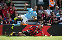 Steve Cook of AFC Bournemouth brings down Gabriel Jesus of Manchester City during the Premier League match between Bournemouth and Man City at the Goldsands Stadium, Bournemouth, England on 26 August 2017. Photo by Andy Rowland.
