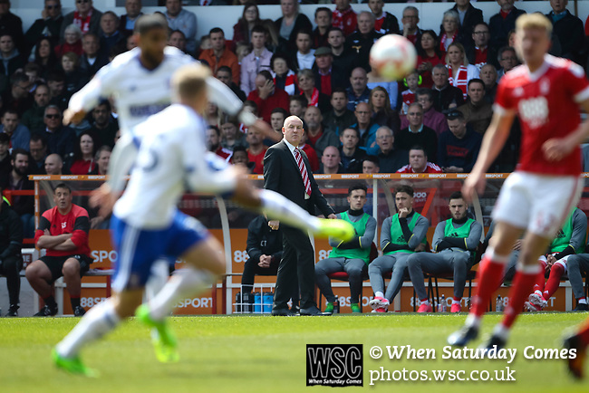 Nottingham Forest 3 Ipswich Town 0, 07/05/2017. City Ground, Championship. Mark Warburton Manager of Nottingham Forest watches on during the game between Nottingham Forest v Ipswich Town at the City Ground Nottingham in the SkyBet Championship. Photo by Paul Thompson.