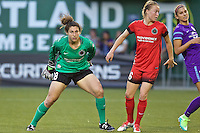 Portland, Oregon - Sunday April 17, 2016: Portland Thorns FC goalkeeper Michelle Betos (18). The Portland Thorns play the Orlando Pride during a regular season NWSL match at Providence Park. The Thorns won 2-1.