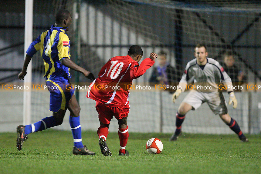 Josh Llewellyn (10) scores the second goal for Aveley - Romford vs Aveley - Ryman League Championship Manager Cup Football at Mill Field - 16/11/10 - MANDATORY CREDIT: Gavin Ellis/TGSPHOTO - Self billing applies where appropriate - Tel: 0845 094 6026