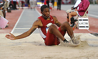 NWA Media/Michael Woods --05/29/2014-- w @NWAMICHAELW...University of Arkansas long jumper Anthony May makes a jump in the mens long jump preliminaries Thursday afternoon at the 2014 NCAA Division 1 Track and Field West Preliminary track meet at John McDonnell Field in Fayetteville.