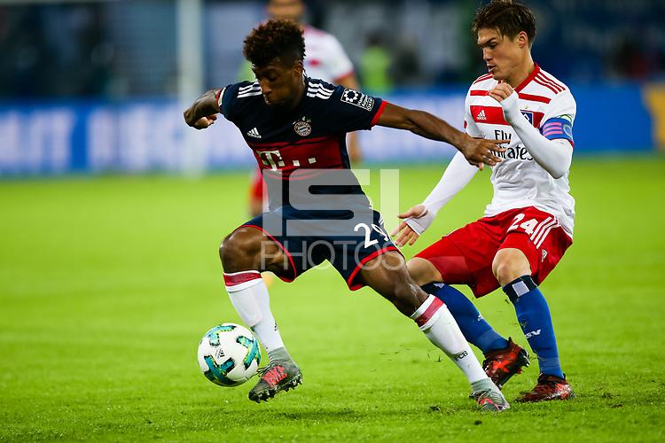 Football: Germany, 1. Bundesliga, Hamburger SV (HSV) vs FC Bayern Muenchen (FCB), Hamburg, 21.10.2017,<br /> Coman, Kingsley (29, FC Bayern Muenchen), Sakai, Gotoku (24, Hamburger SV, HSV),  *** Local Caption *** <br /> Contact: +49-40-22 63 02 60 , info@pixathlon.de