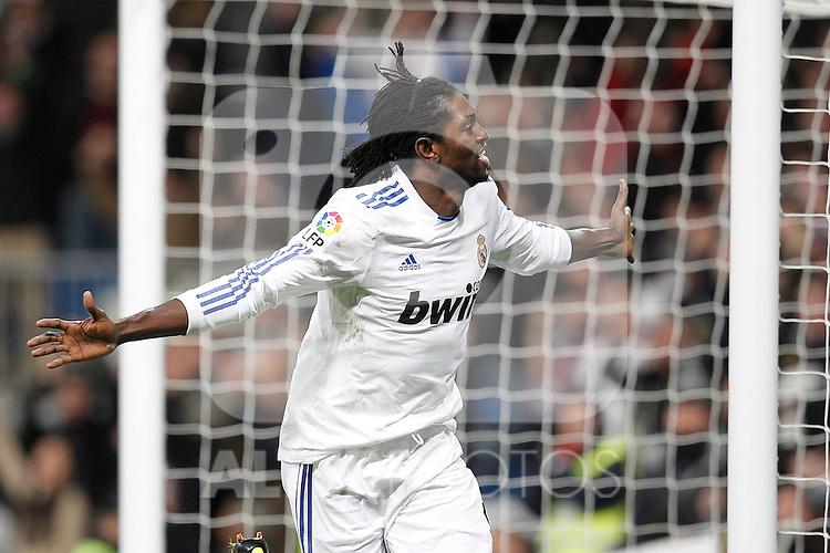 Real Madrid's Emanuel Adebayor goal during spanish King's Cup semifinal match on February 2nd, 2011...Photo: Cid-Fuentes - Cebolla / ALFAQUI