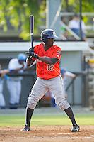 Ydarqui Marte (12) of the Greeneville Astros at bat against the Burlington Royals at Burlington Athletic Park on June 29, 2014 in Burlington, North Carolina.  The Royals defeated the Astros 11-0. (Brian Westerholt/Four Seam Images)