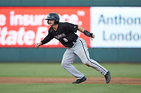 Ian Dawkins (8) of the Kannapolis Intimidators takes his lead off of second base against the Augusta GreenJackets at SRG Park on July 6, 2019 in North Augusta, South Carolina. The Intimidators defeated the GreenJackets 9-5. (Brian Westerholt/Four Seam Images)