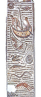 Late 4th century AD Roman mosaic depiction a fishing scene. From Cathage, Tunisia.  The Bardo Museum, Tunis, Tunisia. White Background.