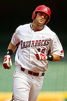 Sam Bates #16 of the Arkansas Razorbacks rounds the bases after hitting a 2-run home run in the bottom of the first inning against the Texas Tech Red Raiders at Minute Maid Park on March 2, 2012 in Houston, Texas.  The Razorbacks defeated the Red Raiders 3-1.  Brian Westerholt / Four Seam Images