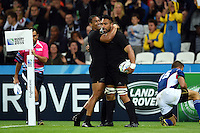 Victor Vito of New Zealand is congratulated on his try by team-mate Julian Savea. Rugby World Cup Pool C match between New Zealand and Namibia on September 24, 2015 at The Stadium, Queen Elizabeth Olympic Park in London, England. Photo by: Patrick Khachfe / Onside Images