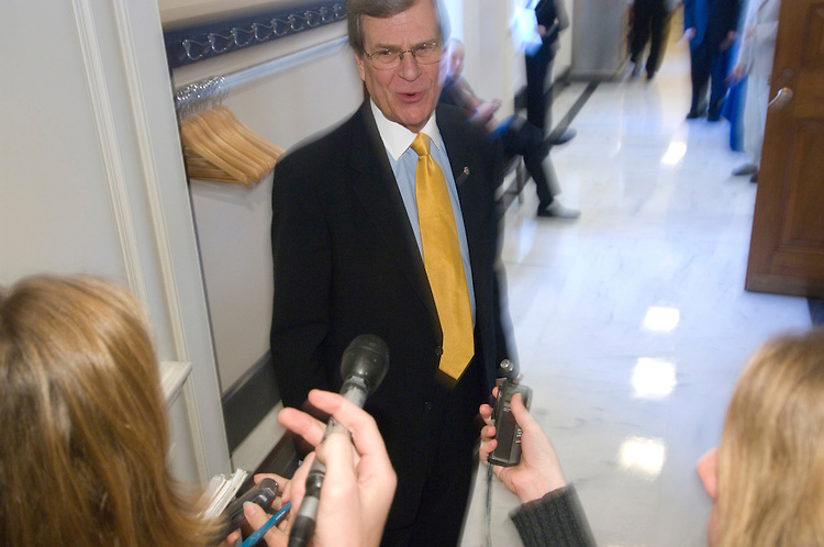 Sen. Trent Lott, R-Miss., speaks with reporters as he heads to the weekly Republican policy luncheon in the Capitol on Tuesday, Dec. 4, 2007.