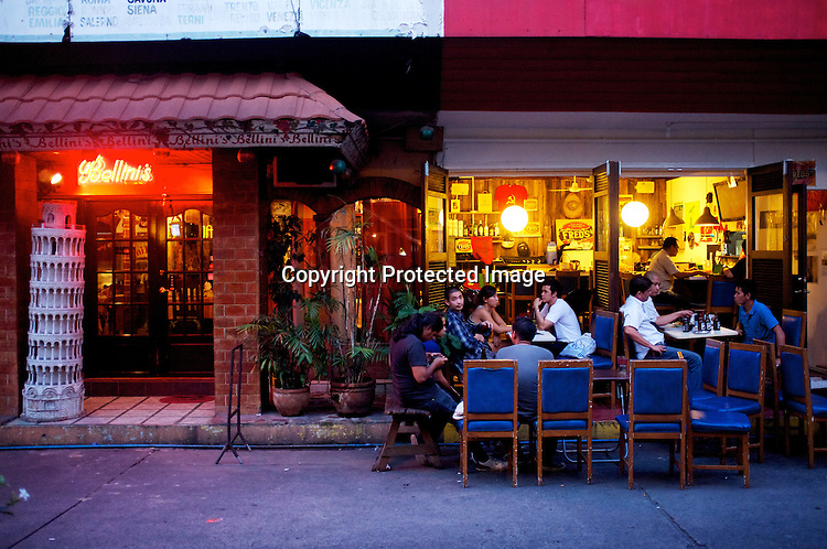 Customers seen enjoying a relaxed evening outside a famous bar, Fred's Revolución in Manila Collective at Cubao Expo in Quezon city in Manila, Philippines. Photo: Sanjit Das
