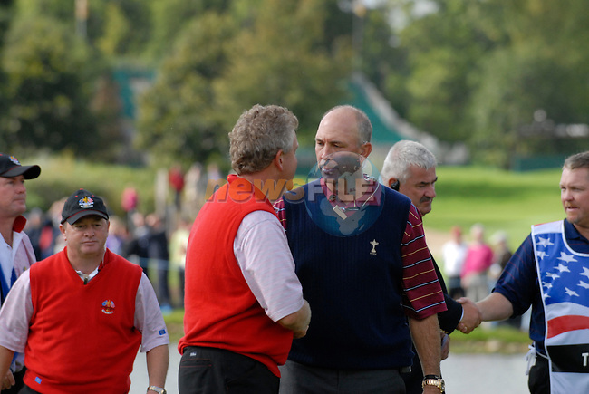 September 24th, 2006. European. Ryder Cup team captain Ian Woosnam and USA team captain Tom Lehman during the singles final session of the last day of the 2006 Ryder Cup at the K Club in Straffan,. County Kildare in the Republic of Ireland...Photo: Eoin Clarke/ Newsfile.<br />