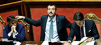 Giulia Bongiorno, Matteo Salvini and Giuseppe Conte<br /> Rome March 20th 2019. Senate vote on the immunity from prosecution for the Minister of Internal Affairs Matteo Salvini.  Last August 20th a ship, carrying 177 migrants (among them many minors) docked in the harbour of Catania but Minister Salvini took the decision to block migrants of Diciotti ship at sea. For that reason the magistracy accused the minister of kidnapping.<br /> Foto Samantha Zucchi Insidefoto