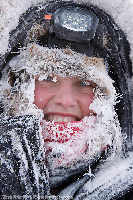 Friday March 12 , 2010   Aliy Zirkle is frosted up as she arrives at the village checkpoint of Ruby