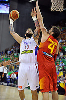 Serbia´s RADULJICA, Miroslav  and Spain's GASOL, Pau during 2014 FIBA Basketball World Cup Group Phase-Group A, match Serbia vs Spain. Palacio  Deportes of Granada. September 4,2014. (ALTERPHOTOS/Raul Perez)