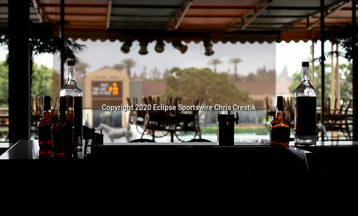 ARCADIA, CA: A bar sits empty while patrons are not allowed to enter the races due to Coronavirus at Santa Anita Park in Arcadia, California on March 14, 2020.