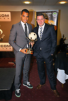Pictured L-R: Goalkeeper Michel Vorm receiving the Supporters' Player of The Year award by Gareth Vincent sports reporter for the Evening Post. Thursday 10 May 2012<br />