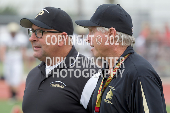 Palos Verdes, CA 11/10/11 - Coach Brown and Coach Larry Olson at the Peninsula-Palos Verdes varsity football game.