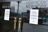 Las Vegas NV - March 18: New York-New York Hotel & Casino Resorts along the Las Vegas Strip will close temporarily in Las Vegas, Nevada on March 18, 2020. <br /> CAP/DAM<br /> ©DAM/Capital Pictures
