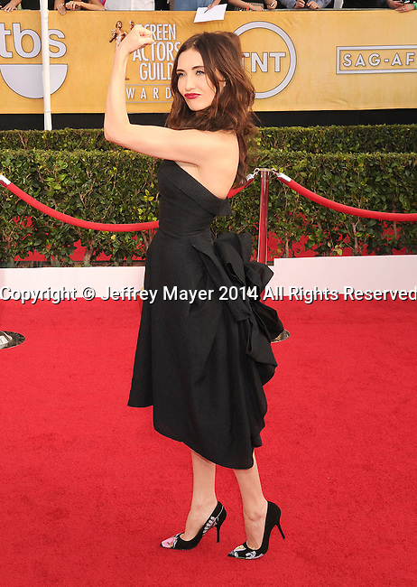 LOS ANGELES, CA- JANUARY 18: Actress Carice van Houten  arrives at the 20th Annual Screen Actors Guild Awards at The Shrine Auditorium on January 18, 2014 in Los Angeles, California.