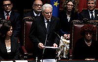 Il nuovo Presidente della Repubblica Sergio Mattarella, affiancato dalla Presidente della Camera Laura Boldrini, a sinistra, e dalla Vicepresidente del Senato Valeria Fedeli, tiene il giuramento durante una cerimonia alla Camera dei Deputati, Roma, 3 febbraio 2015.<br /> Italian newly elected President Sergio Mattarella, flanked by Lower Chamber President Laura Boldrini, left, and Senate's deputy President Valeria Fedeli, attends the swearing ceremony at the Lower Chamber in Rome, 3 February 2015.<br /> UPDATE IMAGES PRESS/Isabella Bonotto