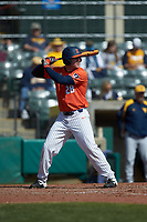 Andrew Dyke (28) of the Illinois Fighting Illini at bat against the West Virginia Mountaineers at TicketReturn.com Field at Pelicans Ballpark on February 23, 2020 in Myrtle Beach, South Carolina. The Fighting Illini defeated the Mountaineers 2-1.  (Brian Westerholt/Four Seam Images)