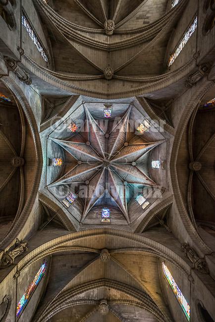 Gothic ceiling and Interior of the chapel, Esglesia Nostra Senyora Dels Dolors, Manacor Cathedral, Manacor, Mallorca